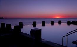 Dawn Ocean Sunrise Swimming Pool Bath Silhoutte Stock Photo