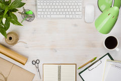 Office table top with various computer accessories and stationery supplies Royalty Free Stock Photos