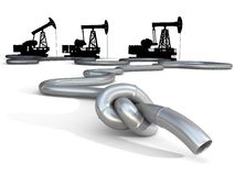 Oil, gas, gasoline or fuel crisis. Conceptual business and politics illustration Stock Photos