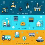 Oil Industry Flat Banners Royalty Free Stock Images