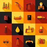 Oil Industry Icons Flat Royalty Free Stock Photo