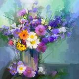 Oil painting daisy flowers in vase. Stock Photo