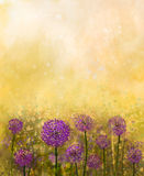 Oil painting Purple onion flower in the meadows Royalty Free Stock Photography