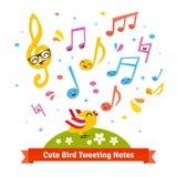 Oiseau gazouillant et bande dessinée de chant notes musicales Photo stock