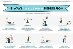 Oito maneiras de viver com a depressão Imagem de Stock