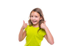 Ok gesture thumb up gunny happy kid girl on white Stock Image