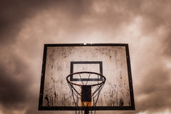 Old disused outdoor basketball hoop Royalty Free Stock Photography