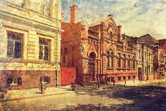 Old dwellig buildings in historical downtown of Kharkov. Ukraine. Royalty Free Stock Photo