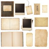 Old mail, paper, book, polaroid frames, stamp Royalty Free Stock Images