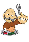 Old man having a meal illustration Stock Photo