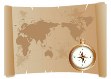 Old map and compass Stock Photography