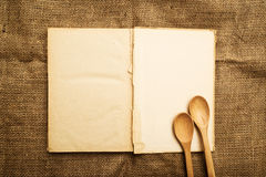 Old open recipe book Stock Image