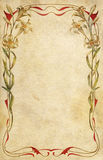 Old postcard decorated with art nouveau floral fra Royalty Free Stock Image