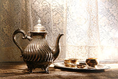 Old Silver Teapot and Tea Serving Accessories Tray Royalty Free Stock Image