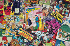 Old Vintage Cartoon Comic Books Royalty Free Stock Photos