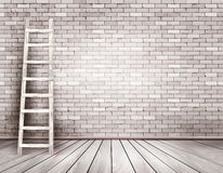 Old white brick wall background with wooden ladder. Royalty Free Stock Images