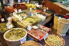 Olives pickles and salads Royalty Free Stock Photography