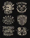 One color vintage motorcycle graphic set Royalty Free Stock Image