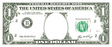 One dollar bill with a hole Stock Photo