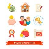Onroerende goederen, huishypotheek, lening, het kopen pictogrammen Royalty-vrije Stock Afbeelding