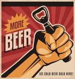 Ontwerp van de bier retro affiche met revolutievuist Stock Foto