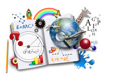 Open Learning Book with Science and Math Stock Photo