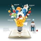 Open book infographic innovation idea on light bulb vector. Stock Photo