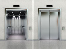 Open and closed elevator Stock Images