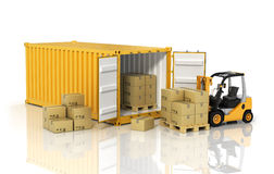 Open container with forklift stacker loader holding cardboard bo Stock Photography