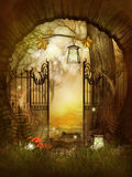 Open Gates in the fairytale wood Royalty Free Stock Images