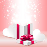 Open gift box with shine, romantic Valentine's day illustration Royalty Free Stock Photos