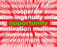 Opportunity Word Shows Good Chance Or Favourable Circumstances Stock Image