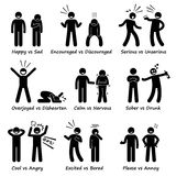 Opposite Feeling Emotions Positive vs Negative Actions Stick Figure Pictogram Icons Royalty Free Stock Photography