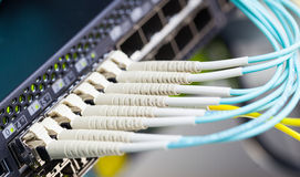 Optic fiber and SFP connected to switch Stock Photo