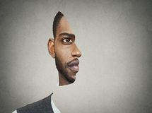 Optical illusion portrait front with cut out profile of a man Royalty Free Stock Images