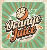 Orange juice retro poster Stock Photo
