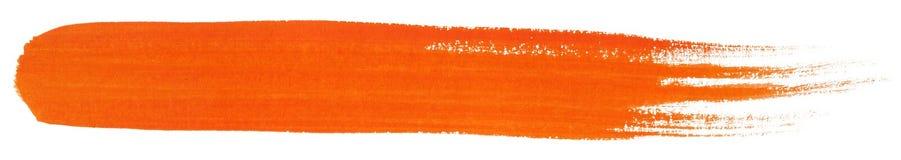 Orange stroke of gouache paint brush Stock Photo