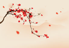 Oriental style painting, plum blossom in spring Stock Photos