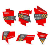 Origami design label set Royalty Free Stock Photos