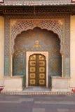 Ornate entrance doors at the city palace, Jaipur, India. Stock Photos