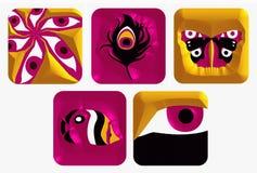 Os ícones do logotipo ajustaram 5 Imagens de Stock Royalty Free