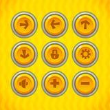 Os botões do jogo com ícones ajustaram 1 Fotografia de Stock Royalty Free