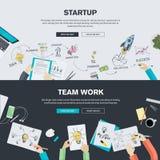 Os conceitos lisos da ilustração do projeto para a partida e a equipe de negócio trabalham Imagem de Stock