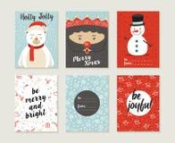 Oso lindo retro del modelo del sistema de tarjeta de la Feliz Navidad Fotos de archivo libres de regalías