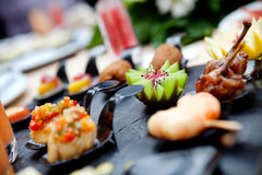 Outdoor catering and coctel. Food events and celebrations Royalty Free Stock Photo