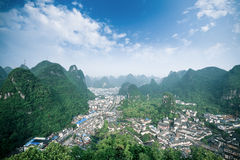 Overlooking the yangshuo county,China Stock Images