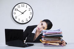 Overworked businesswoman take a rest Royalty Free Stock Images