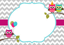 Owls invitation template Royalty Free Stock Photos