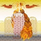 Pássaros do pavão Fundo sem emenda do teste padrão do ouro bonito Ilustração do vetor Foto de Stock Royalty Free