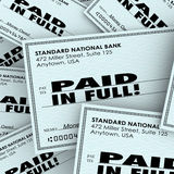 Paid in Full Words Check Money Bills Pile Paying Owed Obligation Royalty Free Stock Photography